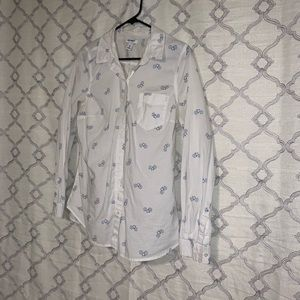 Button Front Shirt W/ Bicycle Print